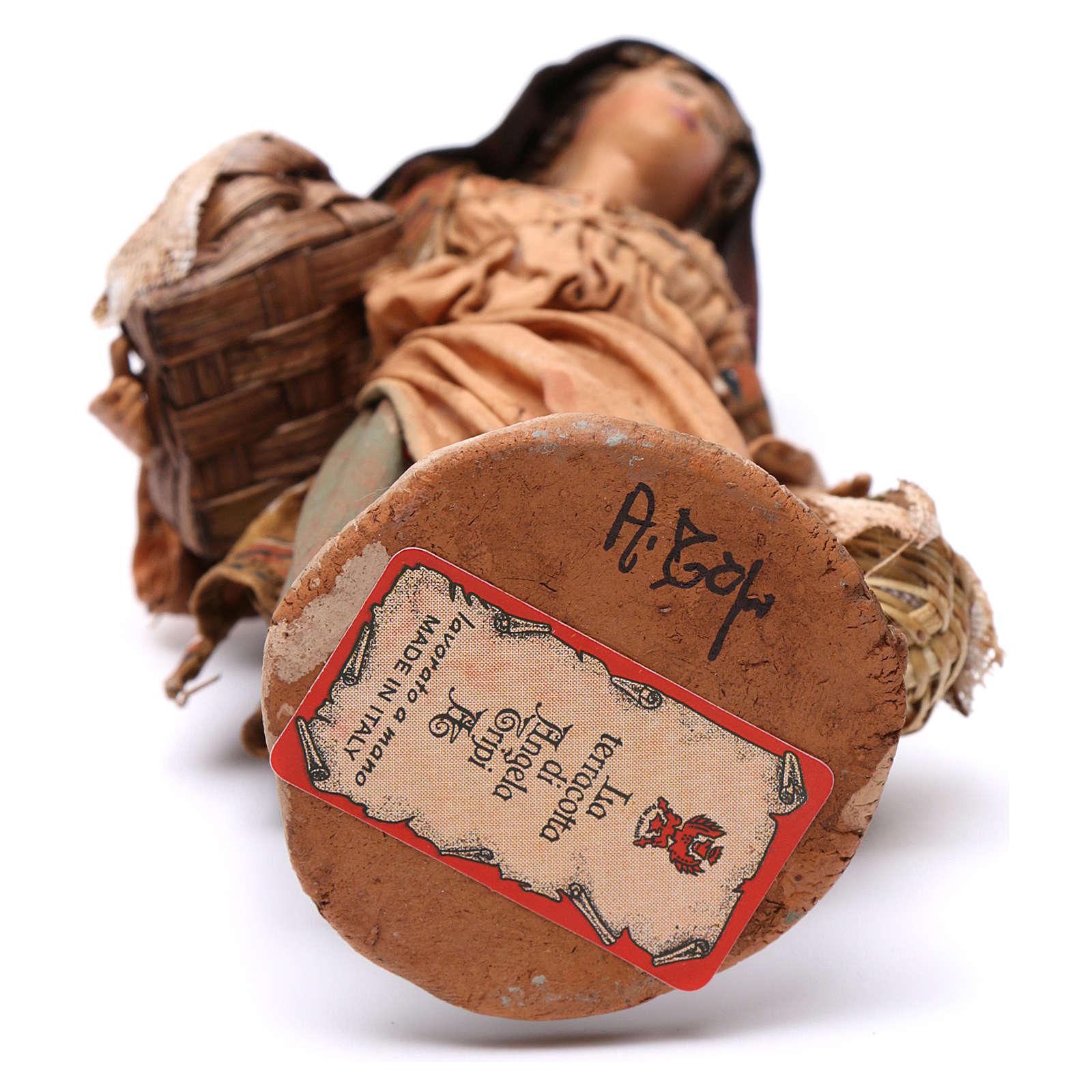 Donna con cesti di semi 13 cm presepe Angela Tripi 4