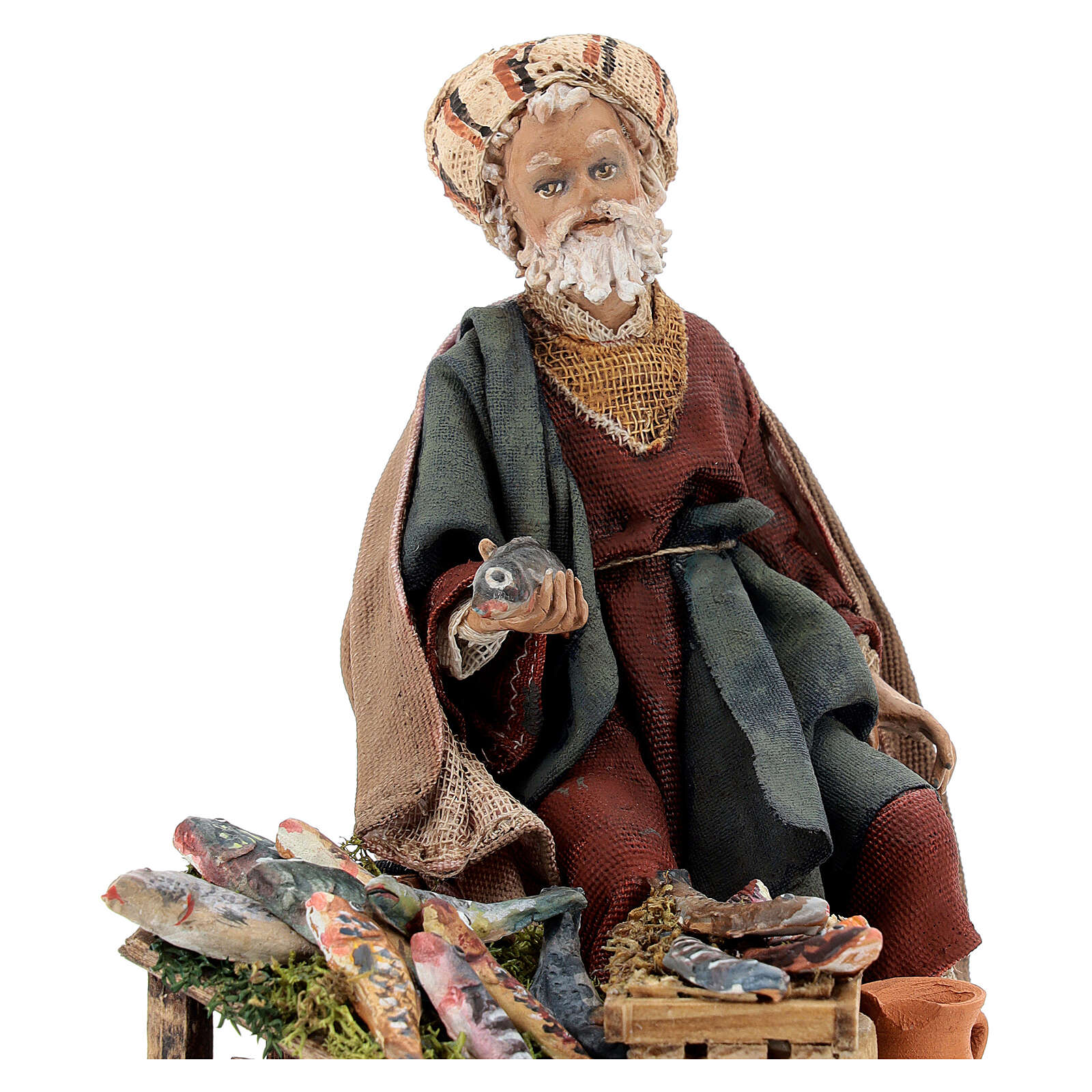 Nativity scene figurine, fish seller 13 cm made by Angela Tripi 4