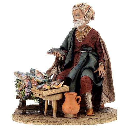 Nativity scene figurine, fish seller 13 cm made by Angela Tripi 1