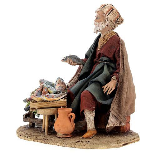 Nativity scene figurine, fish seller 13 cm made by Angela Tripi 3