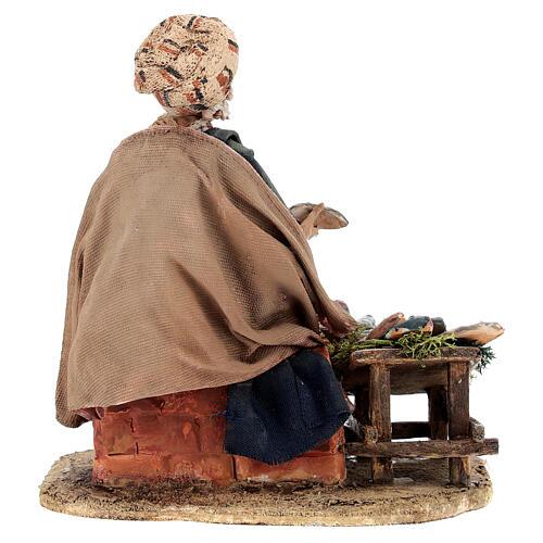 Nativity scene figurine, fish seller 13 cm made by Angela Tripi 5