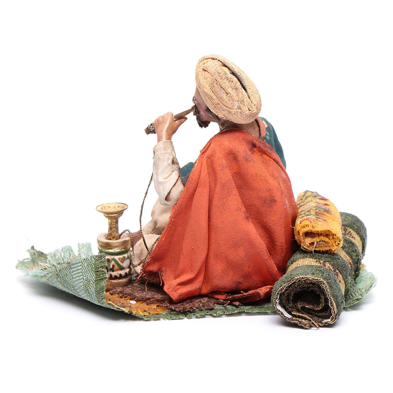 Pastore che fuma il narghilè 13 cm presepe Angela Tripi 4