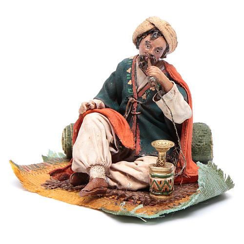 Pastore che fuma il narghilè 13 cm presepe Angela Tripi 2