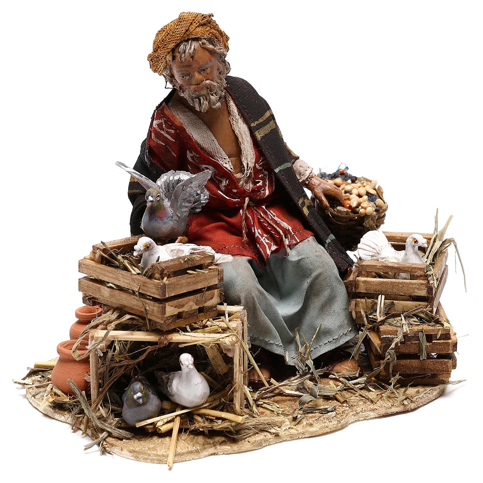 Sitting man with doves 13cm, Nativity Scene by Angela Tripi 4