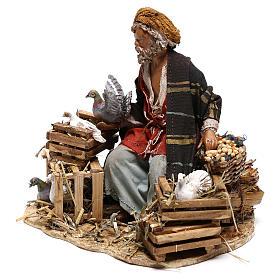 Sitting man with doves 13cm, Nativity Scene by Angela Tripi s3