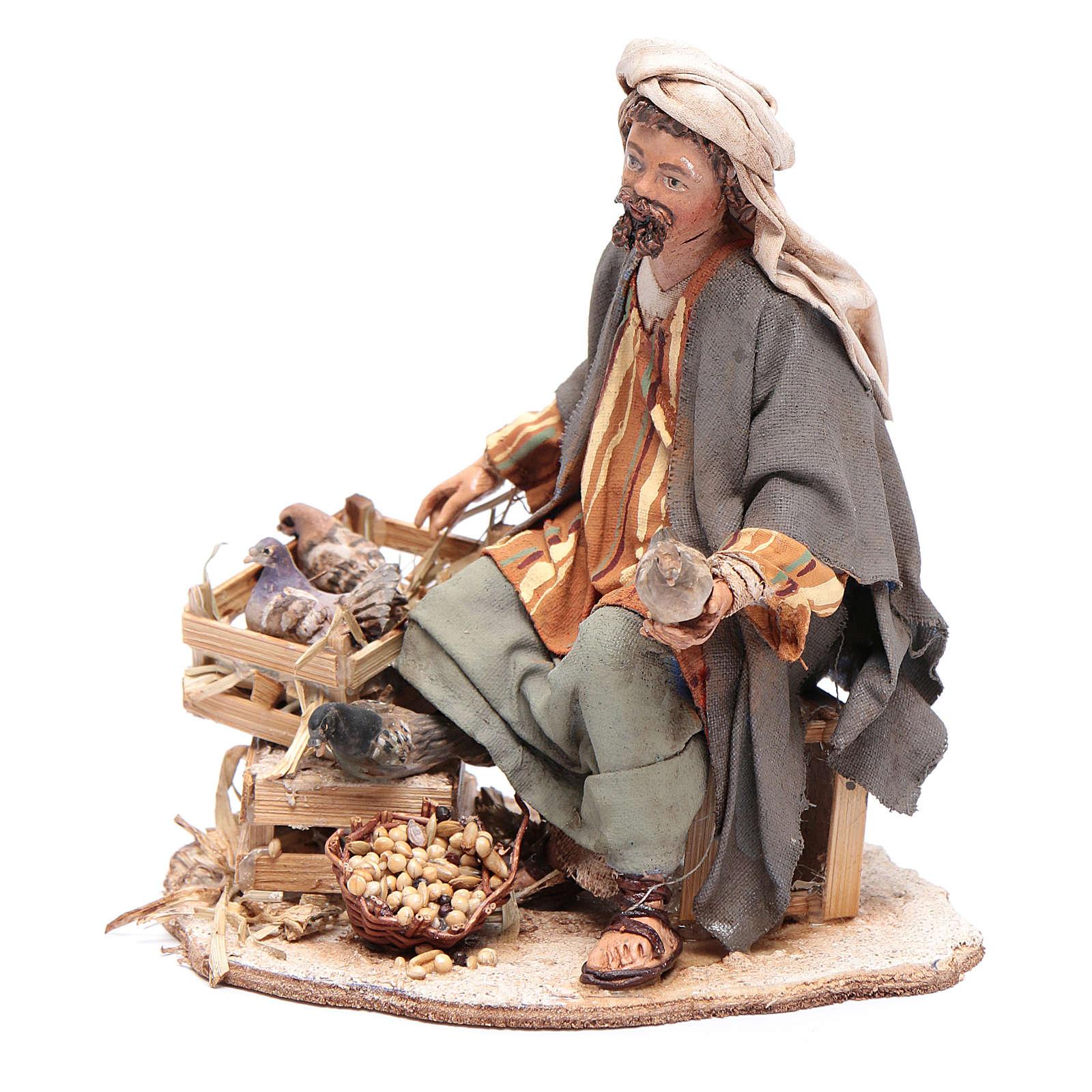 Pastore seduto con colombe 13 cm presepe Angela Tripi 4