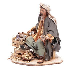Pastore seduto con colombe 13 cm presepe Angela Tripi s2