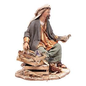 Pastore seduto con colombe 13 cm presepe Angela Tripi s4