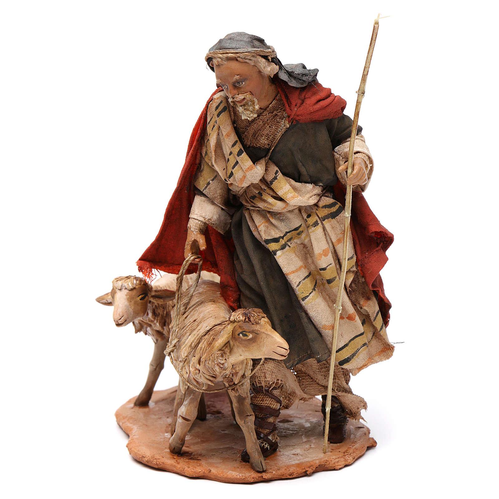 Pastor con dos ovejas 13 cm belén Angela Tripi 4