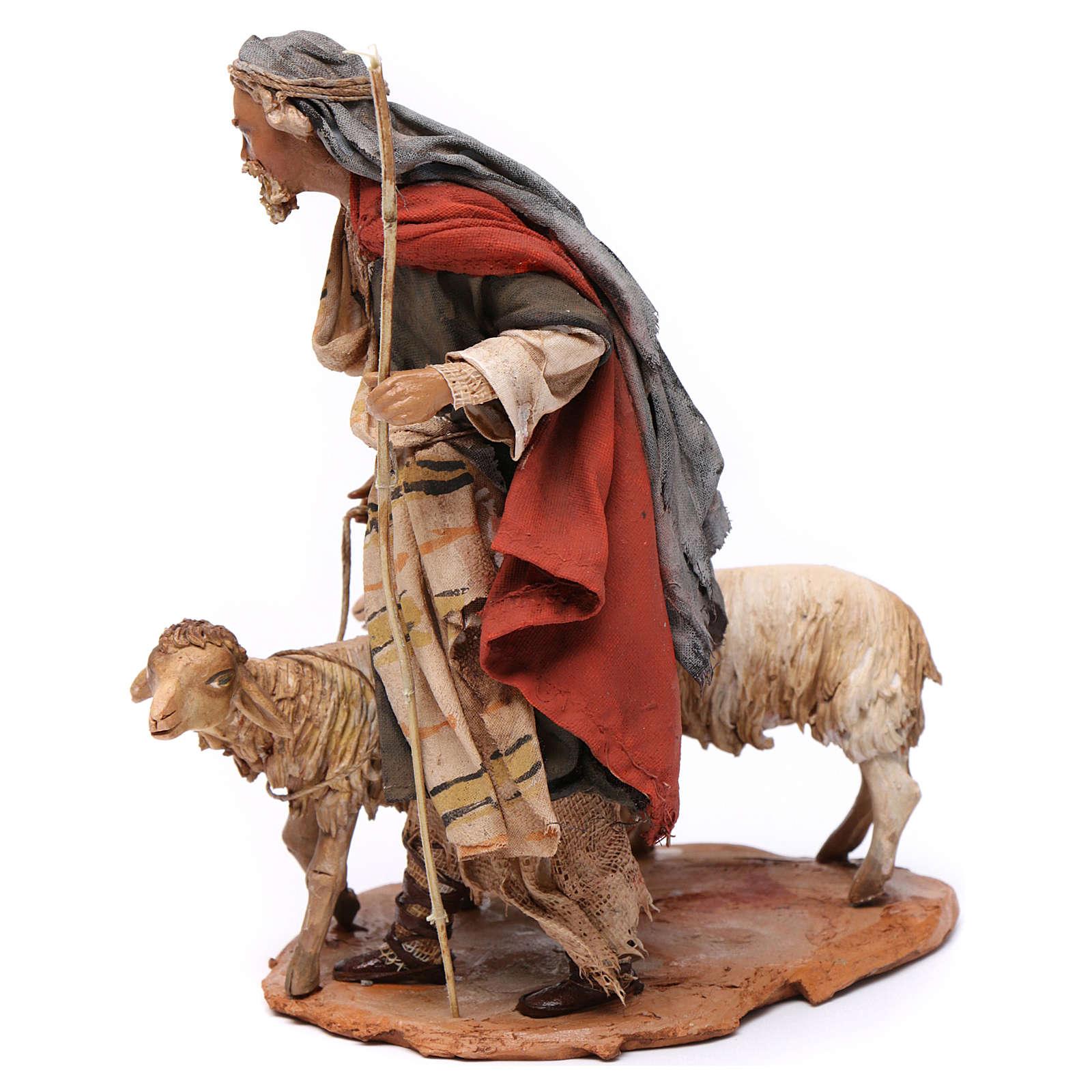 Pastore con due pecore 13 cm presepe Angela Tripi 4