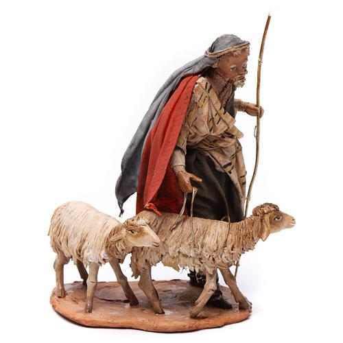 Pastore con due pecore 13 cm presepe Angela Tripi 3