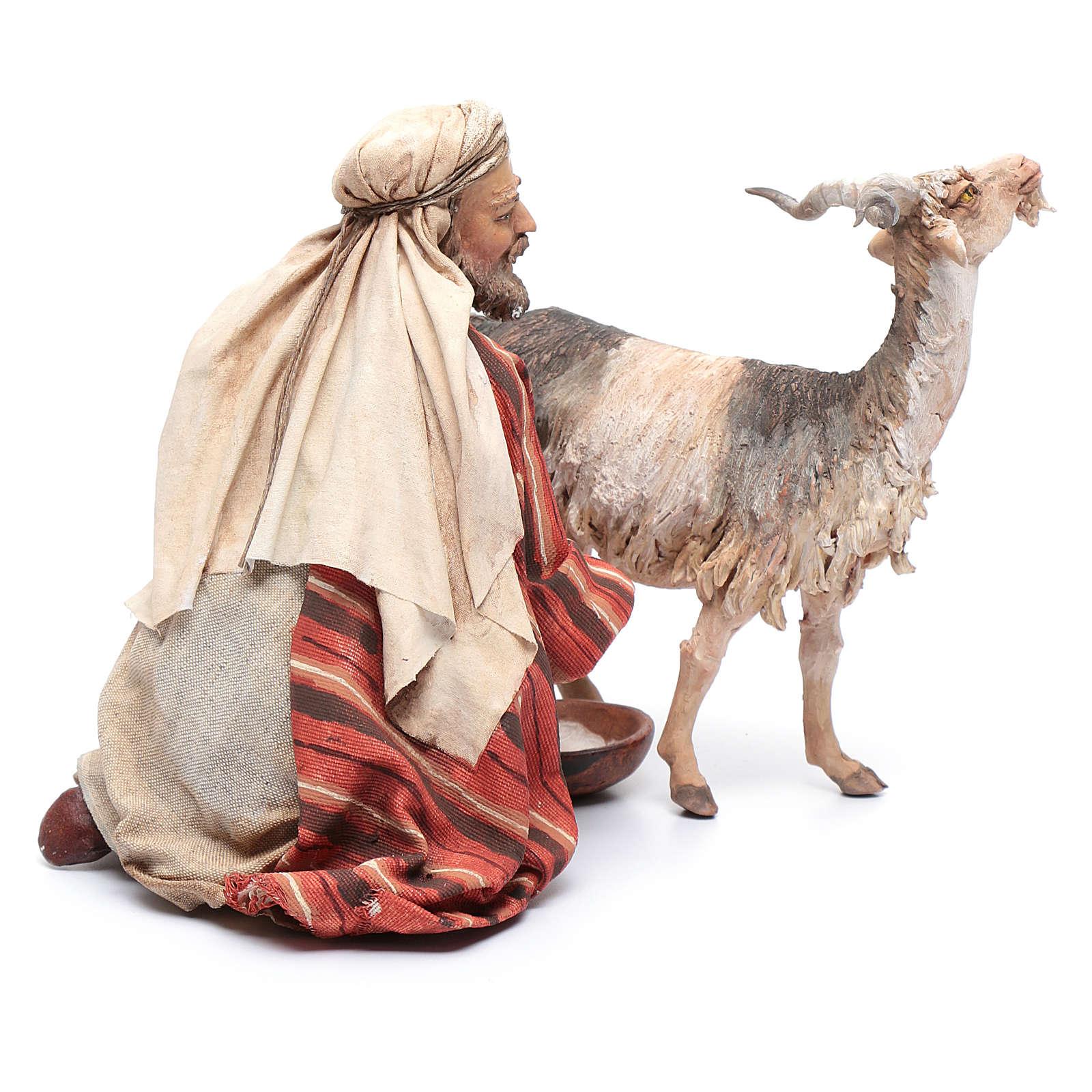Pastore che munge la capra 30 cm presepe Angela Tripi 4