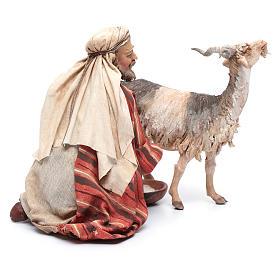 Pastore che munge la capra 30 cm presepe Angela Tripi s4