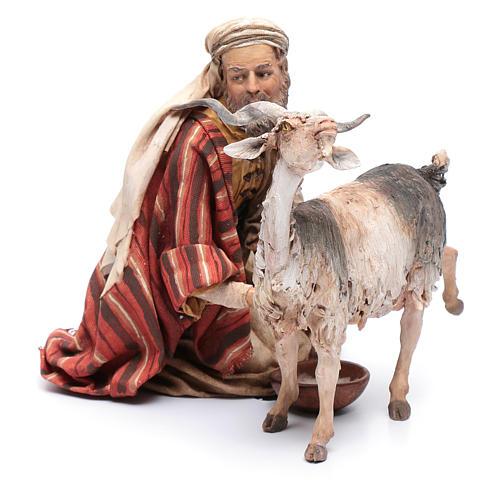 Pastore che munge la capra 30 cm presepe Angela Tripi 2