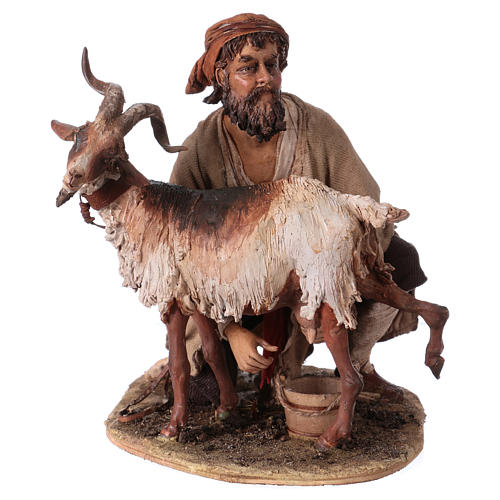 Pastore che munge la capra 30 cm presepe Angela Tripi 1