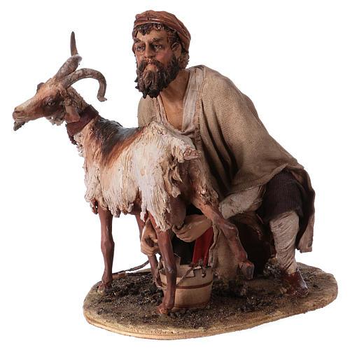 Pastore che munge la capra 30 cm presepe Angela Tripi 3