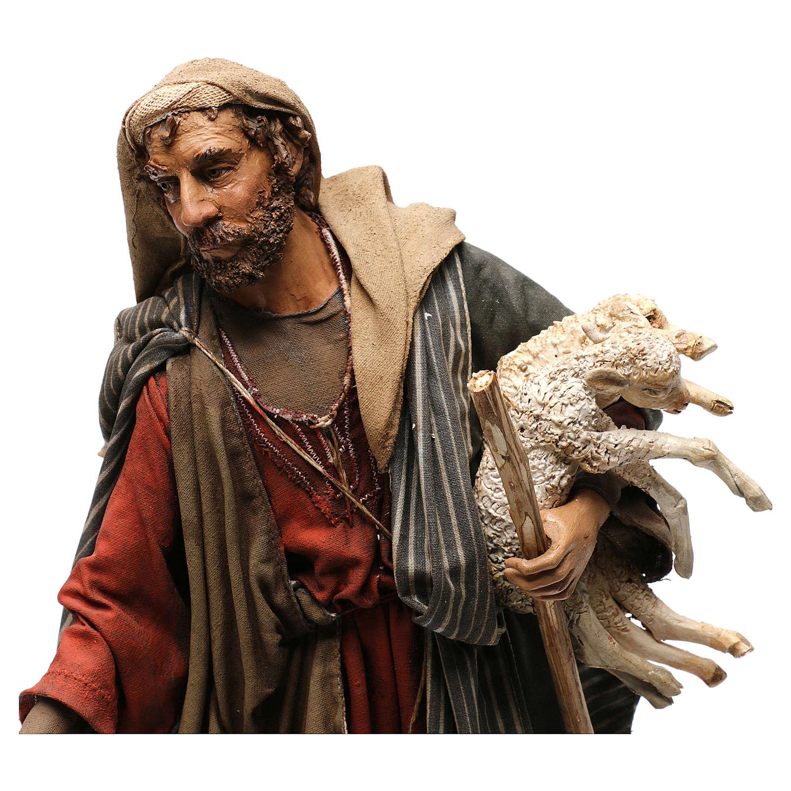 Pastor con corderos 30 cm belén Angela Tripi 4