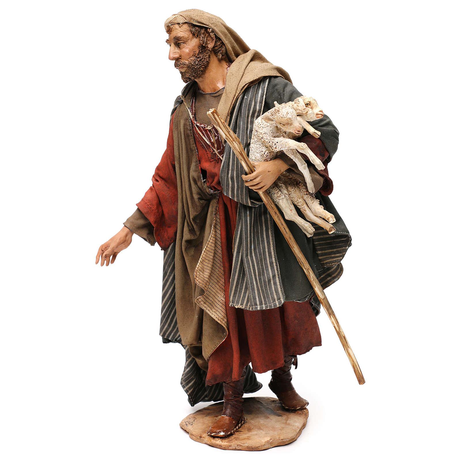 Pastore con agnelli 30 cm presepe Angela Tripi 4