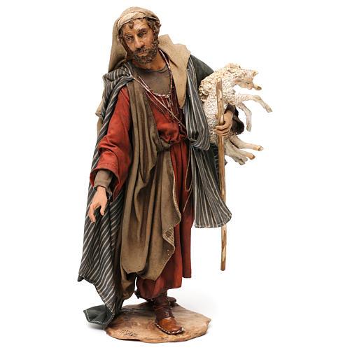 Pastore con agnelli 30 cm presepe Angela Tripi 1