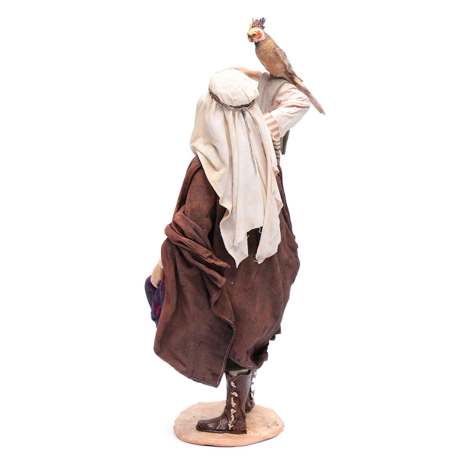 Pastore con pappagallo 30 cm presepe Angela Tripi 4