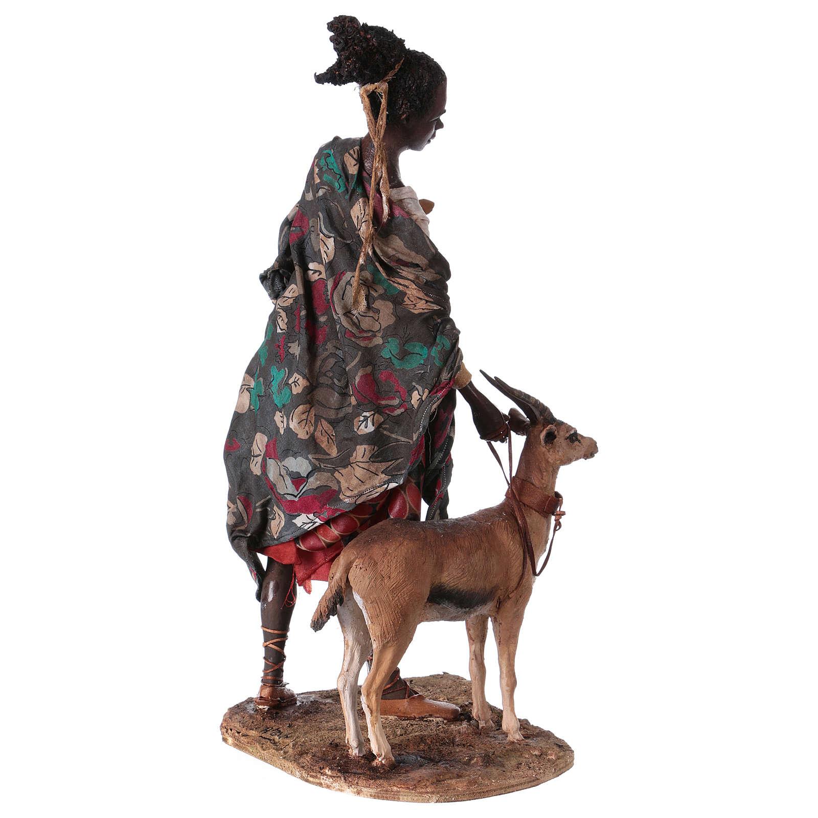 Femme maure avec petit d'antilope 30 cm crèche Angela Tripi 4