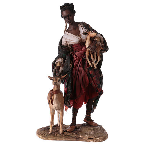 Femme maure avec petit d'antilope 30 cm crèche Angela Tripi 1