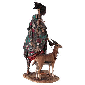 Mora con cucciolo di antilope 30 cm presepe Angela Tripi s6