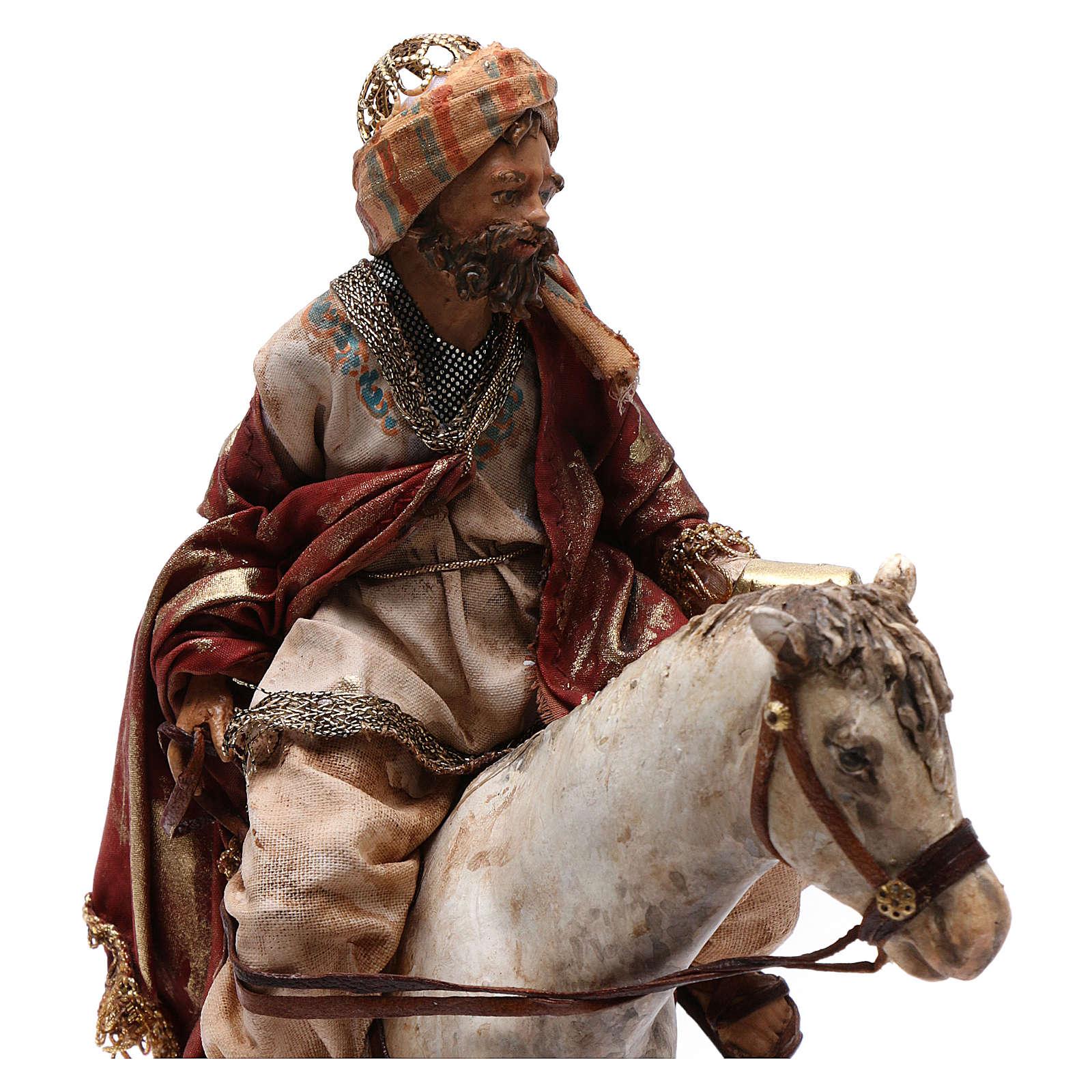 Re Magio a cavallo 13 cm presepe Angela Tripi 4