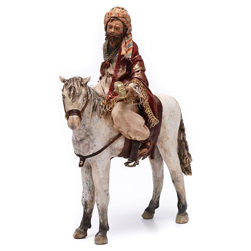 Re Magio a cavallo 13 cm presepe Angela Tripi 1