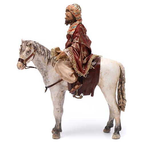 Re Magio a cavallo 13 cm presepe Angela Tripi 3