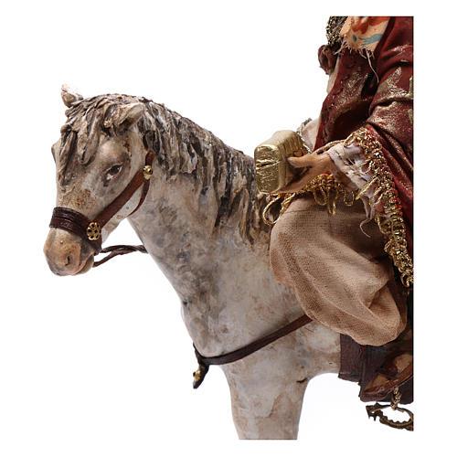 Re Magio a cavallo 13 cm presepe Angela Tripi 7