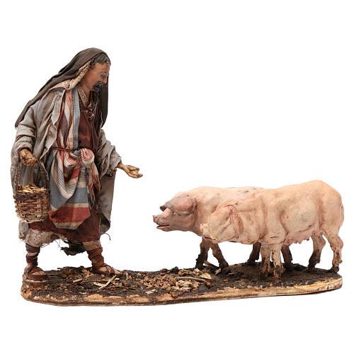 Farmer with pigs 13 cm Angela Tripi Nativity Scene 1