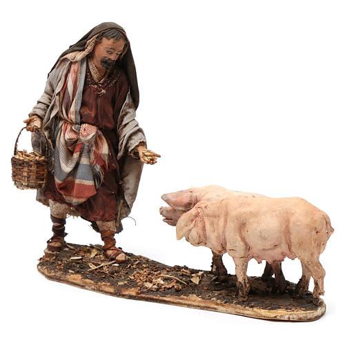 Farmer with pigs 13 cm Angela Tripi Nativity Scene 3