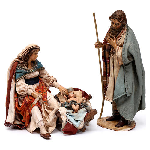 Natività Maria seduta e Giuseppe in piedi 18 cm Angela Tripi 1
