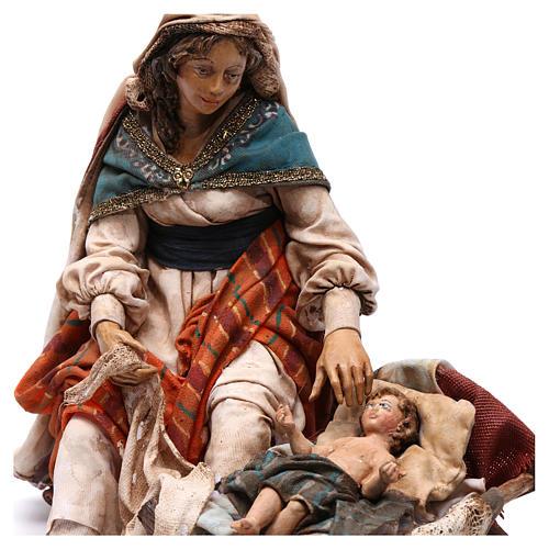 Natività Maria seduta e Giuseppe in piedi 18 cm Angela Tripi 2
