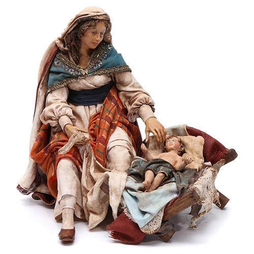 Natività Maria seduta e Giuseppe in piedi 18 cm Angela Tripi 4