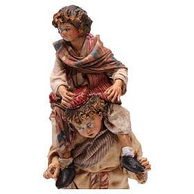 Scena pastore con pecora e bambini presepe 18 cm Angela Tripi s3