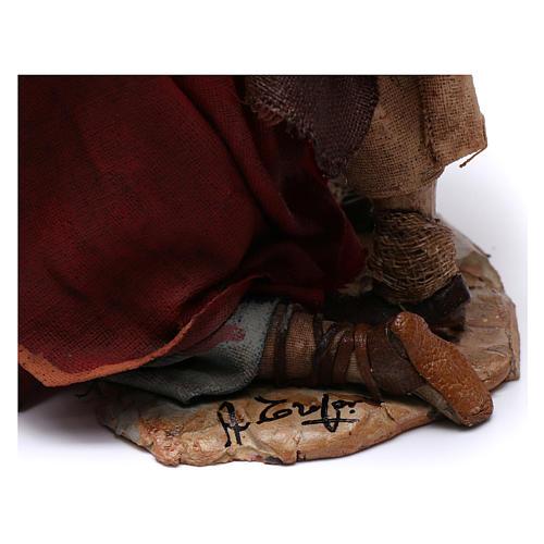 Scena pastore con pecora e bambini presepe 18 cm Angela Tripi 10