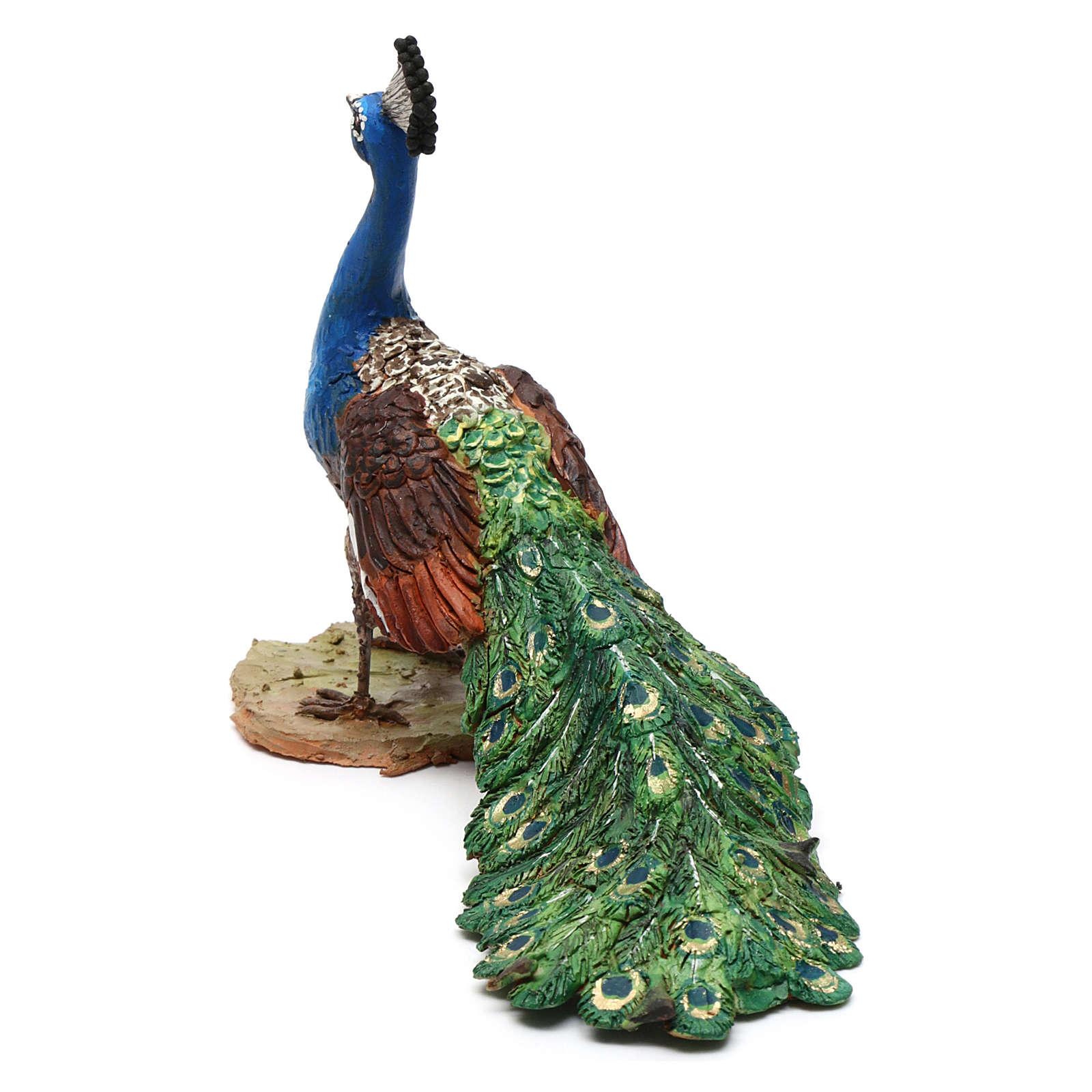 Pavone per presepe Angela Tripi 18 cm 4