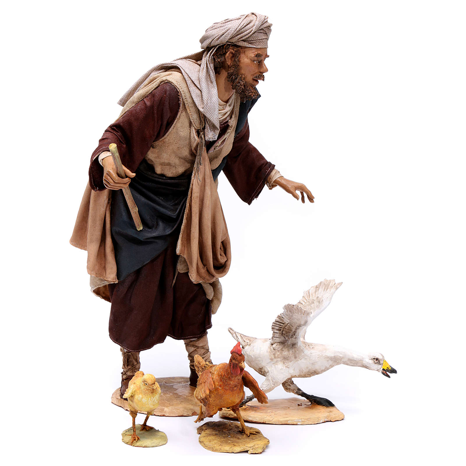 Pastore che caccia l'oca presepe da 30 cm Angela Tripi 4