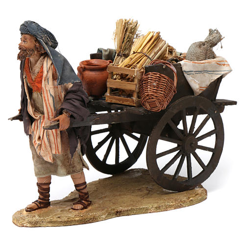 Paesant with cart for Nativity by Angela Tripi 13 cm 1