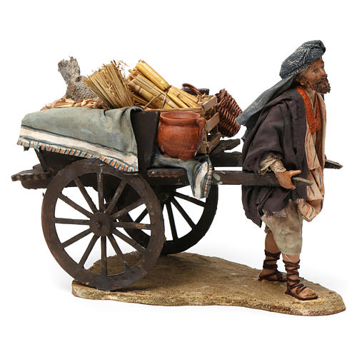 Paesant with cart for Nativity by Angela Tripi 13 cm 2