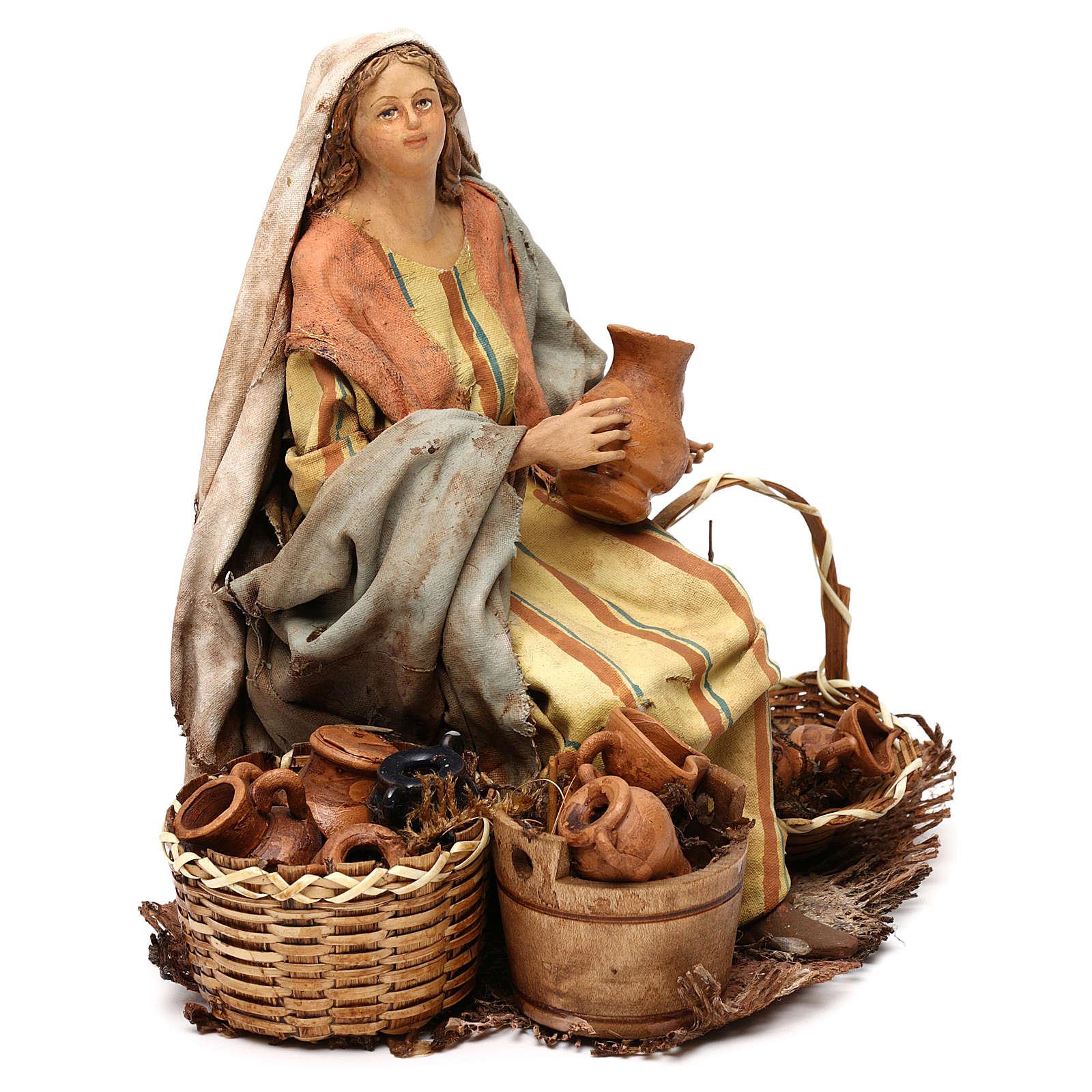 Nativity Scene figurine Woman selling vases, Angela Tripi 18 cm 4