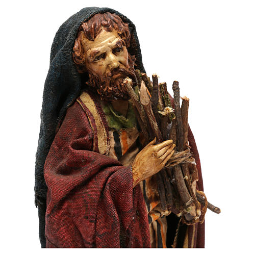 Pastore con legna 18 cm presepe Angela Tripi 2