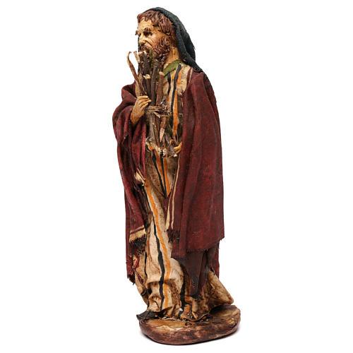 Pastore con legna 18 cm presepe Angela Tripi 3