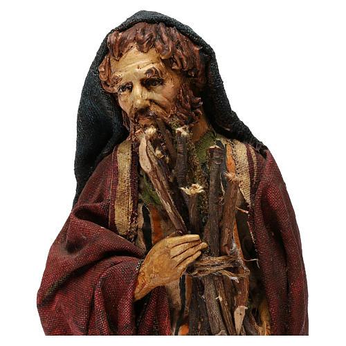 Pastore con legna 18 cm presepe Angela Tripi 8