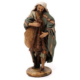 Old bagpiper, 18 cm nativity Angela Tripi s1