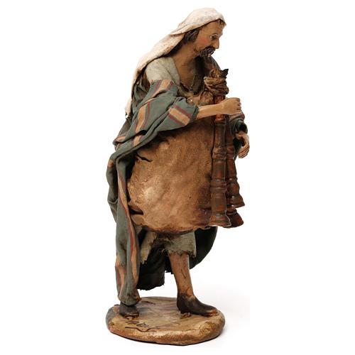Old bagpiper, 18 cm nativity Angela Tripi 4