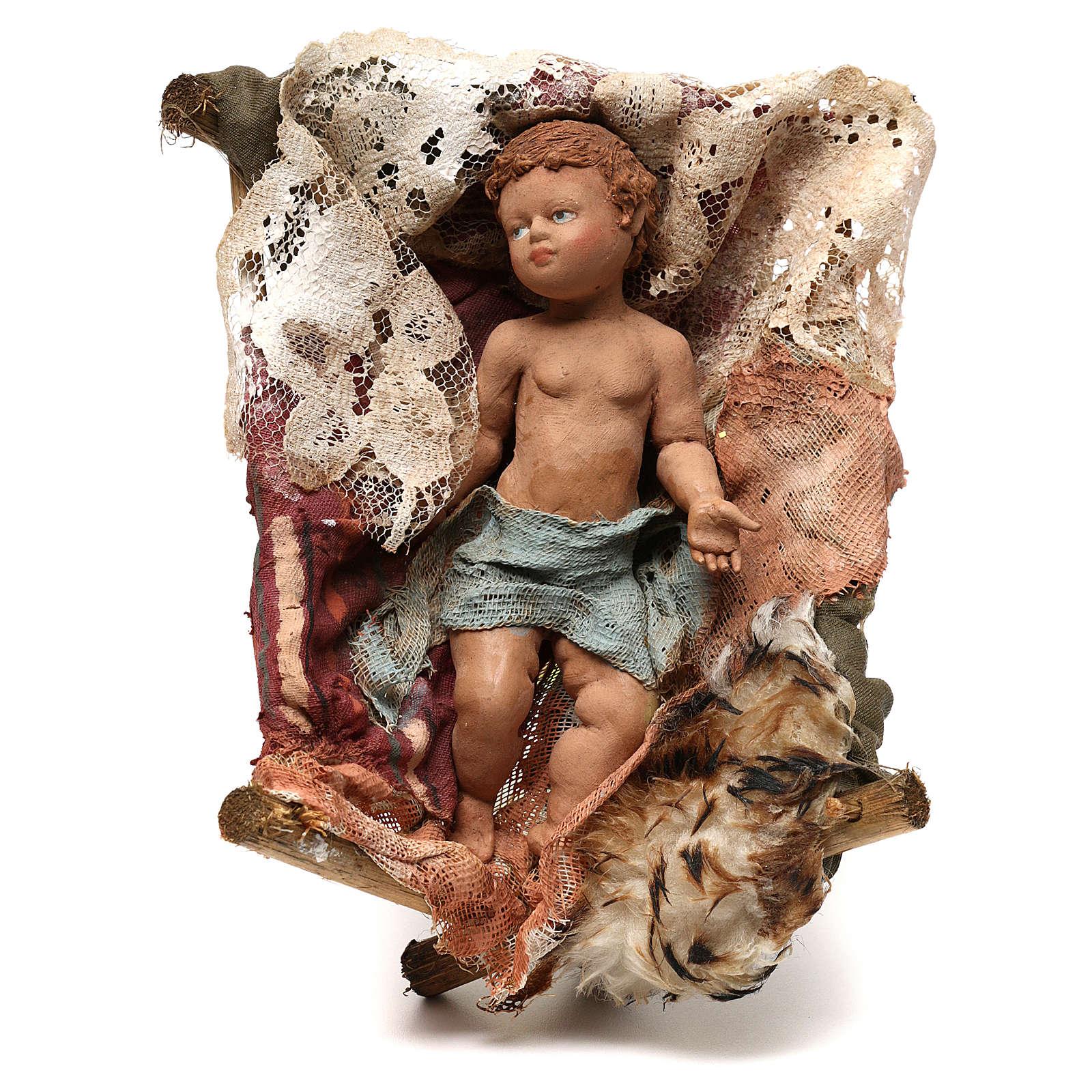 Gesù Bambino in culla presepe Tripi da 30 cm 4