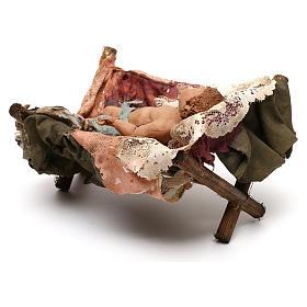 Gesù Bambino in culla presepe Tripi da 30 cm s4